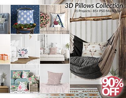 3D Pillows Mockup Collection - Mockup Bundle