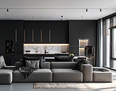 Monochrom Living Room (FREE3d model)