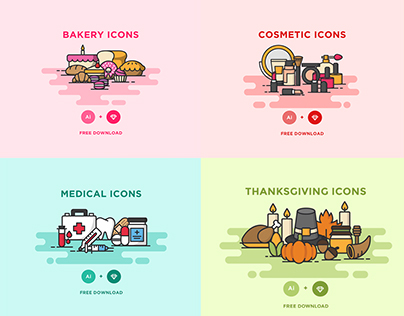 Baby Baker Cosmetic Medical Thanksgiving Icons Set Free