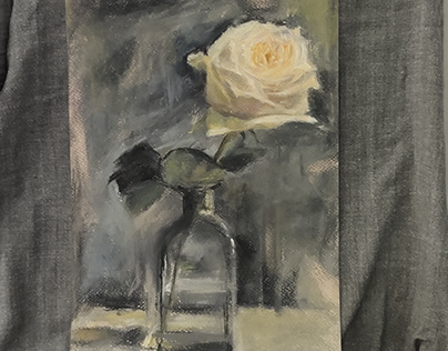 White Rose on a Grey Background, 2021