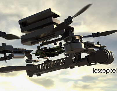 Drone In-Flight Exploded View Product 3D Rendering CGI