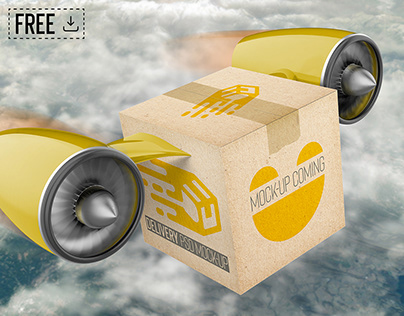 Free Download Delivery Cargo Drone Box PSD Mockup