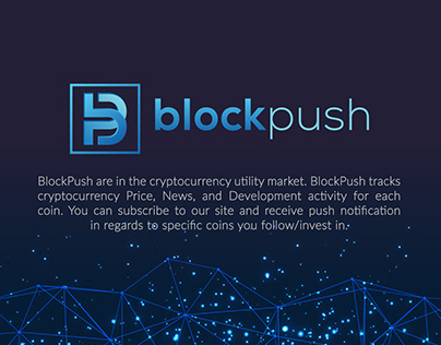 """BlockPush"" Cryptocurrency Utility Market Logo"