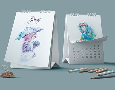 Watercolor calendar with seasons drawing
