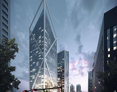 Exterior 3D Rendering for a Spectacular Skyscraper