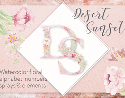 Desert Sunset: floral letters and numbers