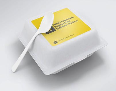 Square Sugarcane Bagasse Food Container Free Mockups