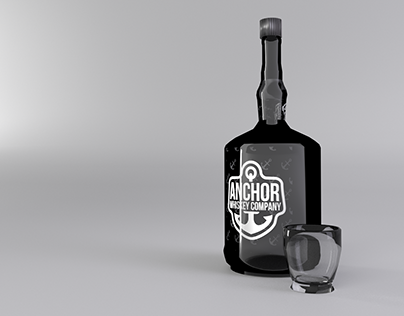3D Render Whiskey Bottle