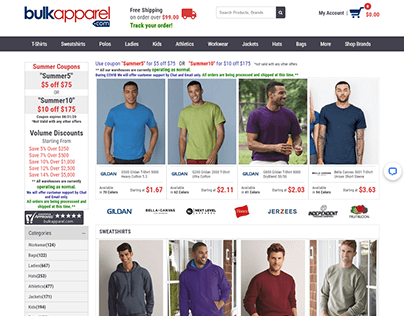 Bulkapparel.com - Wholesale Ecommerce Website