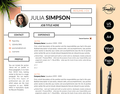 "Resume Template ""Julia Simpson"""
