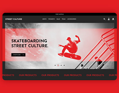Website design for a skate shop