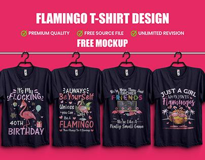 Flamingo T-Shirt Design with Free T-Shirt Mockup