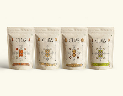 PACKAGING DESIGN - Clans, a range of raw nuts.