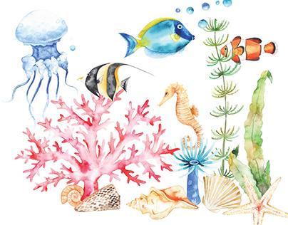 Ocean watercolor