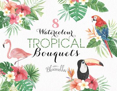 Tropical Watercolour Clipart Bouquets Package