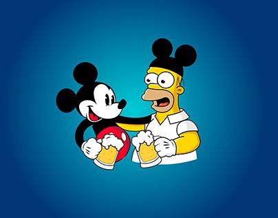 Homer Simpson & Mickey Mouse Disney + Fox