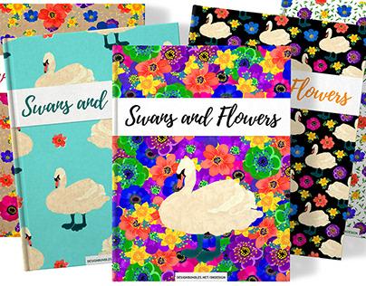 Swans & Flowers - invitations, patterns, illustrations