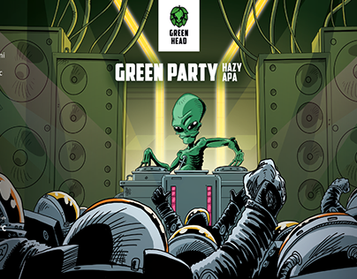 Artwork for labels for GREEN HEAD brewery