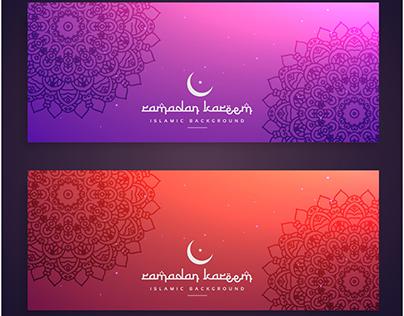 free vector ramadan kareem colorful banners cards