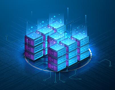 Futuristic Web Hosting. Server room processing big data
