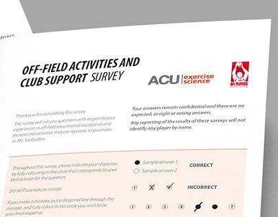 Survey Design - ACU and AFL Players Association