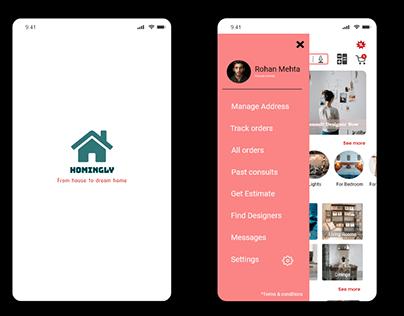 Homingly -Interior design mobile app concept