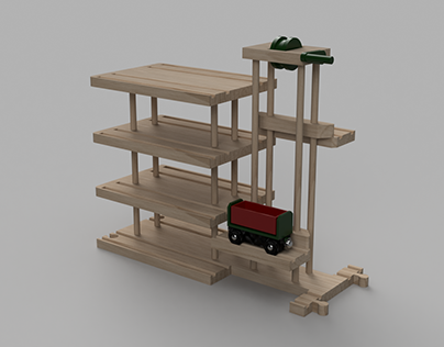Wodden Train Garage with dual lift