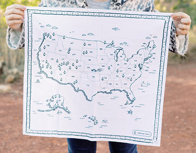 US NATIONAL PARKS ILLUSTRATED MAP