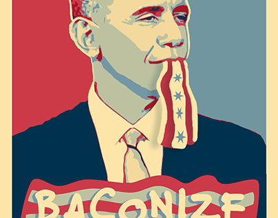 """ObamaBacon"" Promotional Sticker & T-Shirt"