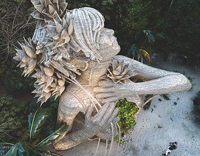 A Beachside Wooden Sculpture