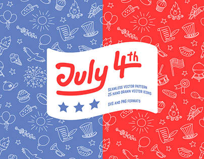 Fourth Of July Seamless Pattern And Icons
