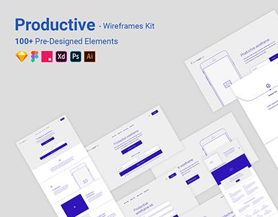 Full wireframe Kit for Adobe Xd - Productive Wireframe
