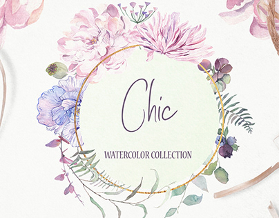 Chic Watercolor Floral Clipart - Peony, Poppy, Aster