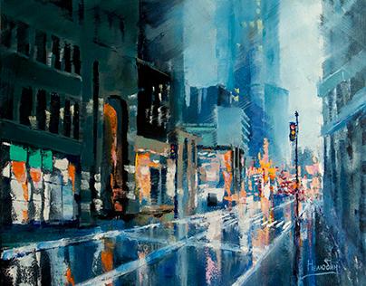 Evening cities