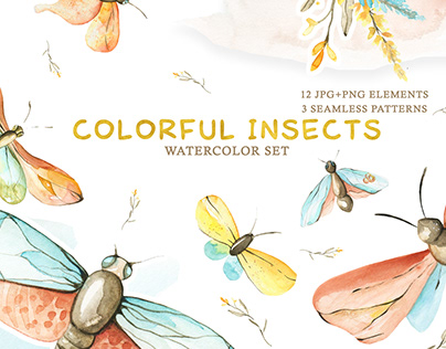 Watercolor Set of Colorful Insects