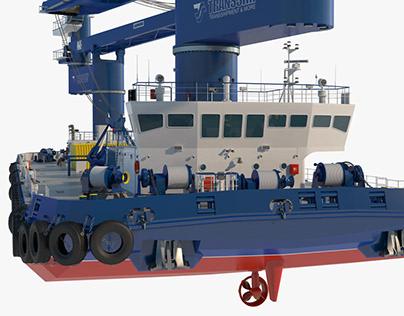 Double Crane Cargo Ship