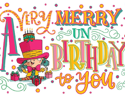 A very merry unbirthday hand lettering