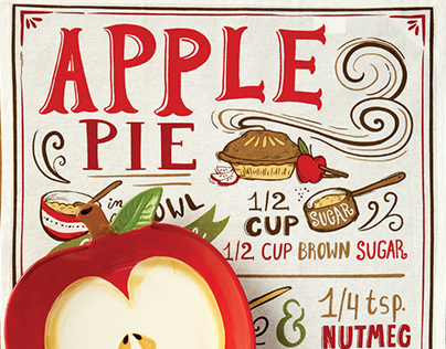 Hand Lettered Pie Recipe Dish Towel