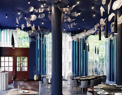 Blue Impressive Cafe Design