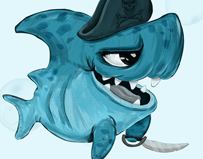 pirate shark with sword. illustration