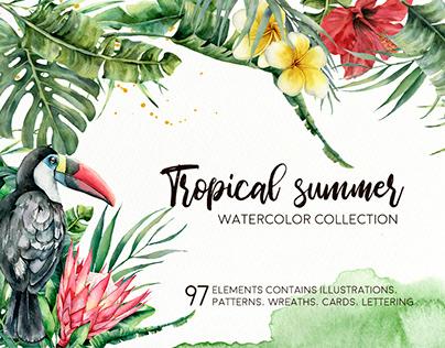 Tropical summer. Watercolor clip art