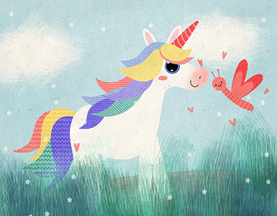 Unicorn and her butterfly friend
