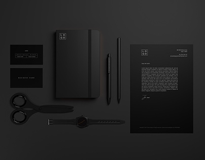 Download - Black Stationary Mockup pack