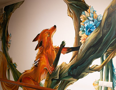 Mural Painting Fox On The Tree