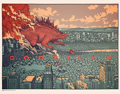 """GODZILLA"" screen print for Mondo Tees"