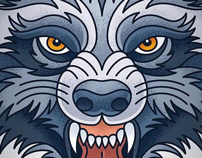 Textured Werewolf Illustration