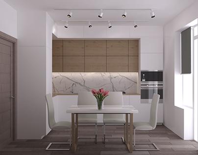 Дизайн инетрьера однокомнотной квартиры