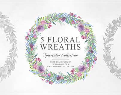 5 Free Beautiful Watercolor Floral Wreath