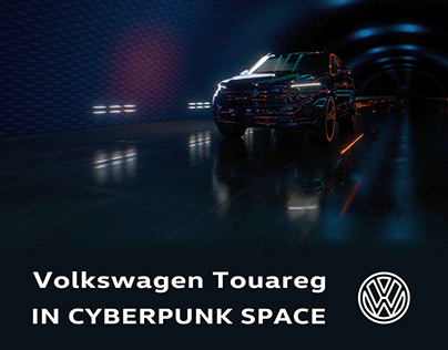 Volkswagen Touareg in cyberpunk space