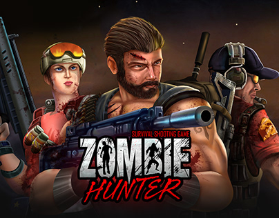 Zombie Hunter - Mobile Game Ui and Promo Graphics